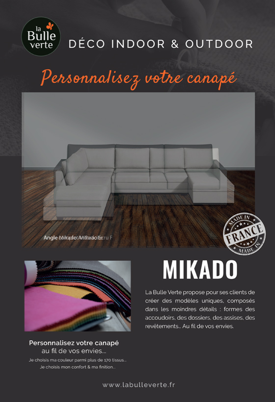 Canapé d'angle Mikado anthracite La Bulle Verte